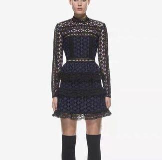 Blue Star Lace-Paneled Mini Dress Self-Portrait style