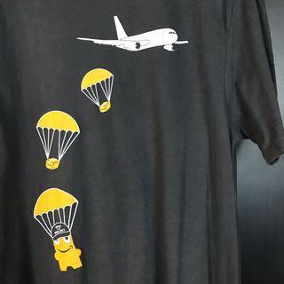 古著降落傘灰色短t