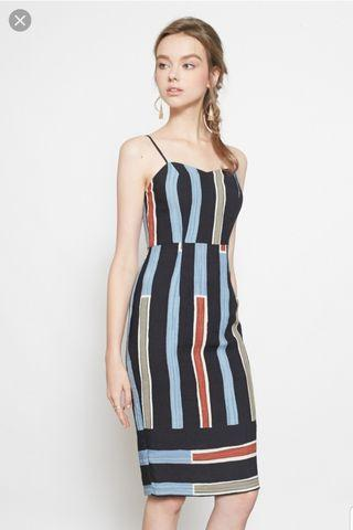 Kathy Sweetheart Spag Dress in Bold Lines