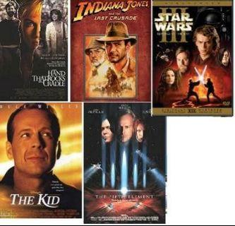Selling the kid, hand tht rocks the cradle, star wars, fifth element, exorcism of emily rose vcds