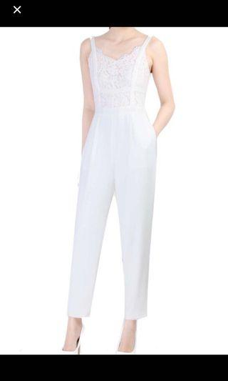 Doublewoot White Jumpsuit with Lace