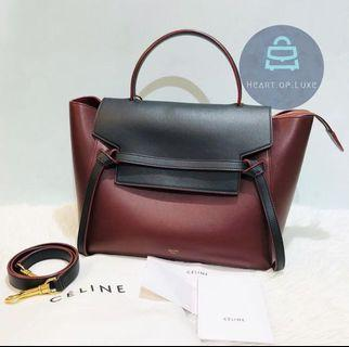 正品 95新 Celine Belt Bag Burgundy and black