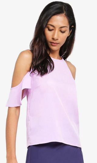 Pastel Purple Cold Shoulder Top