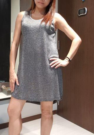 Shimmering Party Grey Short Dress