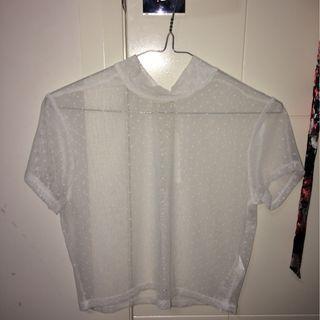 mesh sheer white crop top