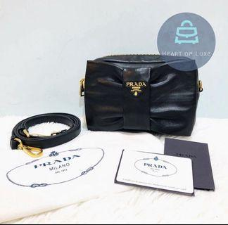正品 98新 Full Set Prada Ribbon Clutch/ crossbody bag