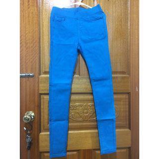 全新-彈力修身窄管褲-天藍色