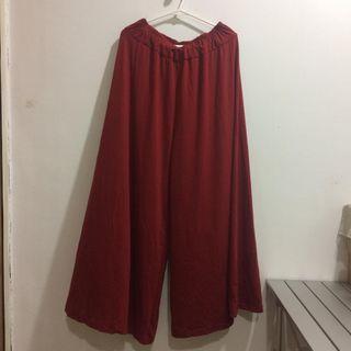 暗紅色褲裙~超寬擺飄逸型