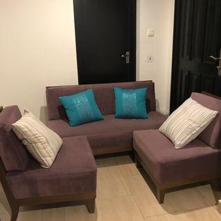 Purple microfibre sofa and chairs - $200