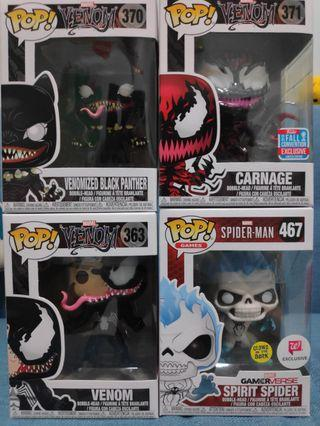 Funko Pop Venom and Spiderman