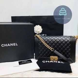 正品 Full set Chanel Boy Caviar 28cm