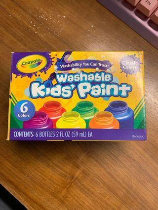 Crayola washable kids' paint 兒童 可水洗 顏料 6色 安全