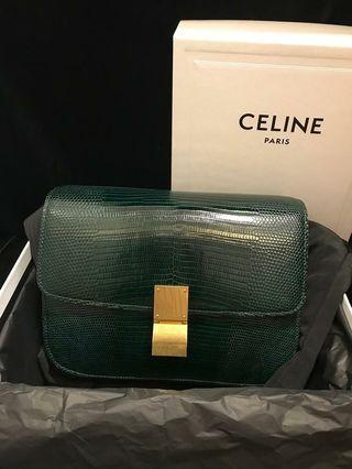 Celine Box Classic Medium Lizard 蜥蜴皮深綠色