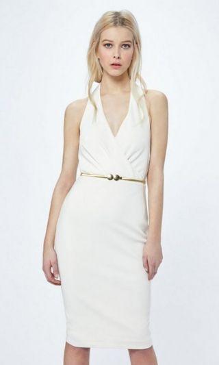 Miss Selfridge white halter neck pencil dress