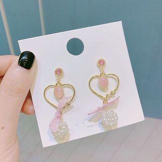 粉紅珍珠心心耳環 S0195