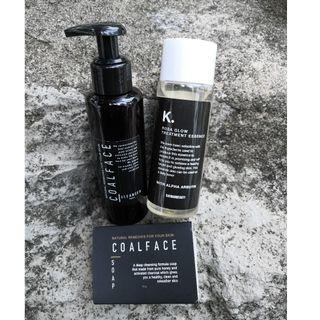 CoalFace Soap + Coalface Cleanser + Rosa Glow Treatment Essence by Kayman Beauty