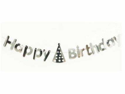 🚚 Gold/ Silver Happy Birthday Banner