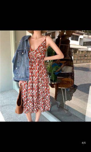 🚚 韓國夏季細肩無袖紅色碎花洋裝