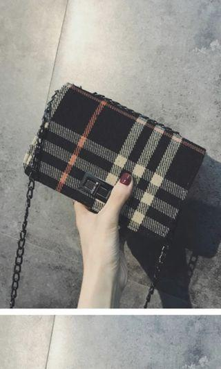 Wool Checkered Sling Bag in Black