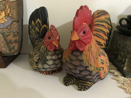 手工彩繪飾品~公雞母雞組