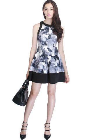 Fayth Zayne Monochrome Dress Black Grey XS