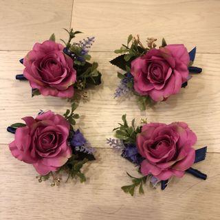 結婚用品 襟花 胸花 婚宴用品 主人家襟花 紫紅色