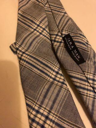 Zara Man 灰藍格領帶 / 布質