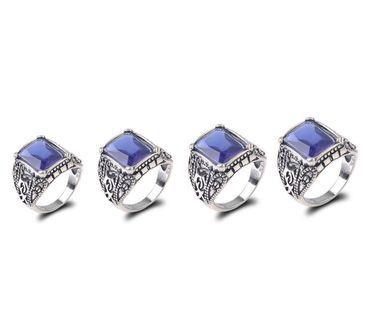 Cincin Klasik Vintage dengan Batu Safir