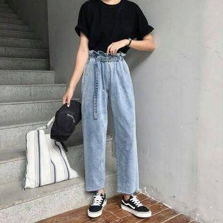 Cullote denim ring pants celana