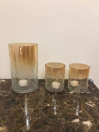 全新 INDIGO 蠟燭台連蠟燭 (一套三個)