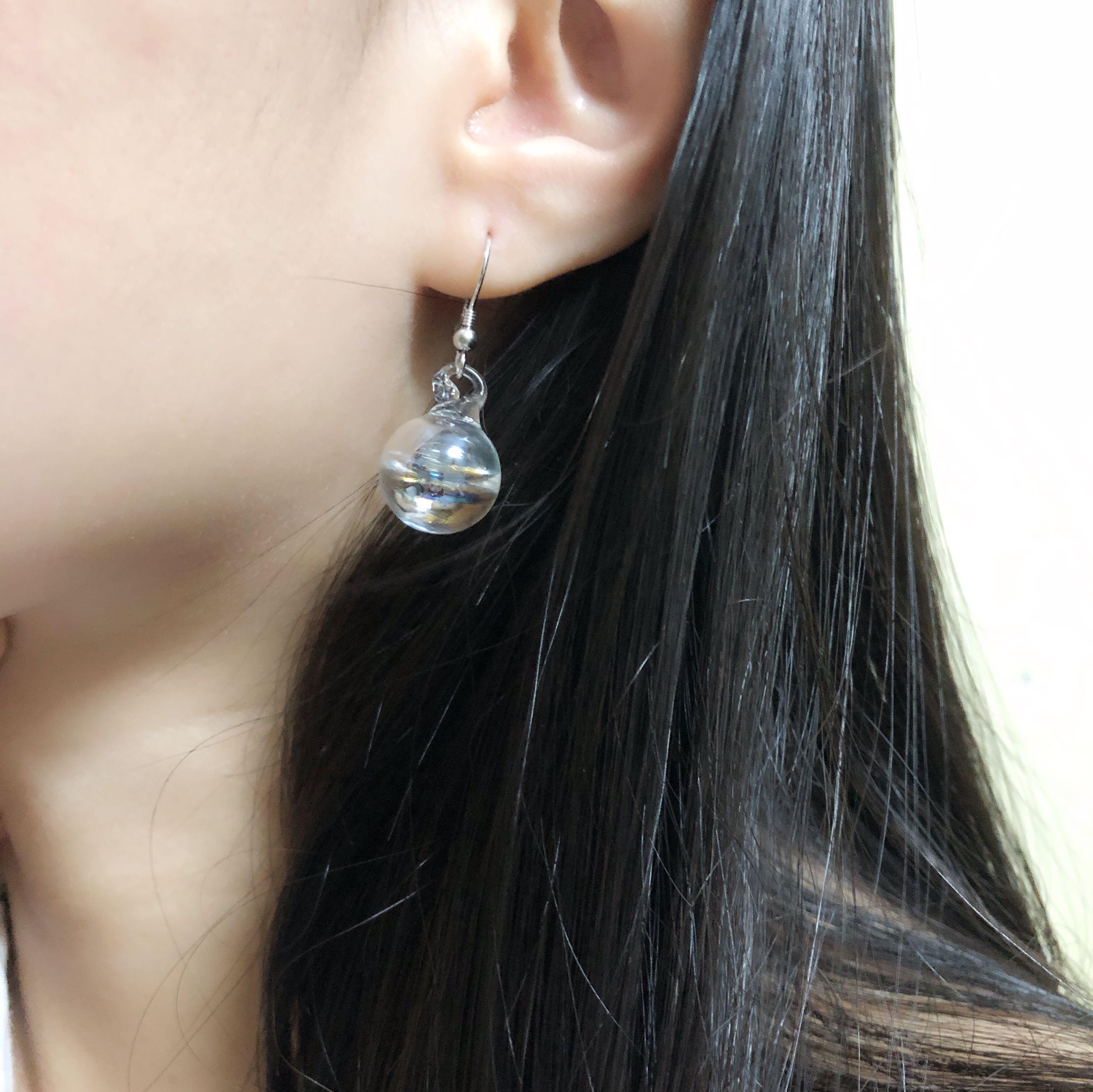 925純銀 琉璃泡沫耳環earrings