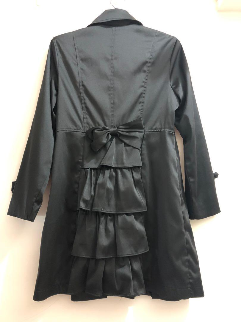 黑色風衣,蝴蝶結風衣外套