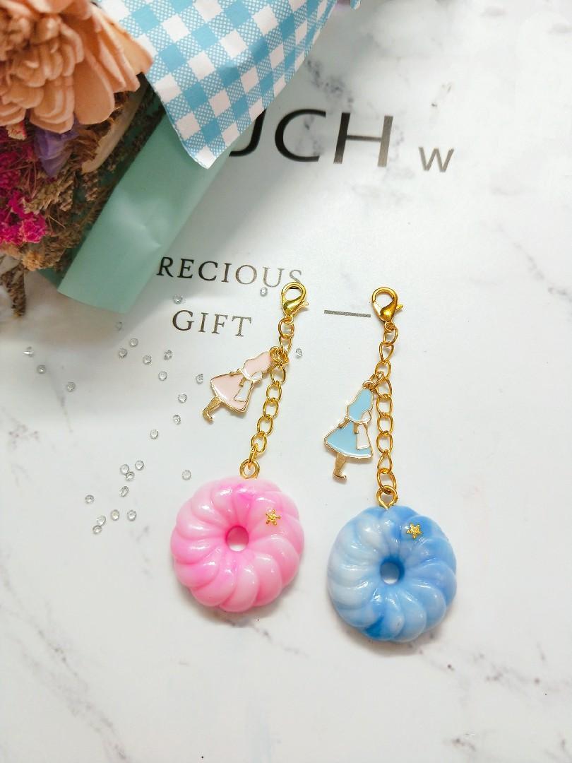 愛莉絲手作法藍奇 吊飾 夢幻 渲染 粉色 藍色鑰匙圈 吊飾 飾品 黏土 閨蜜 質感