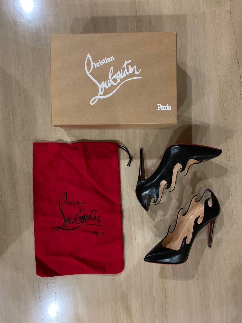 Authentic Christian Louboutin Olavague Black Matte Leather Heels