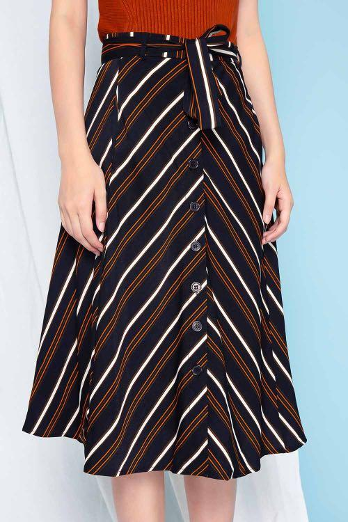 BNWT All Would Envy AWE Kalani Black Stripe Button Panel Skirt