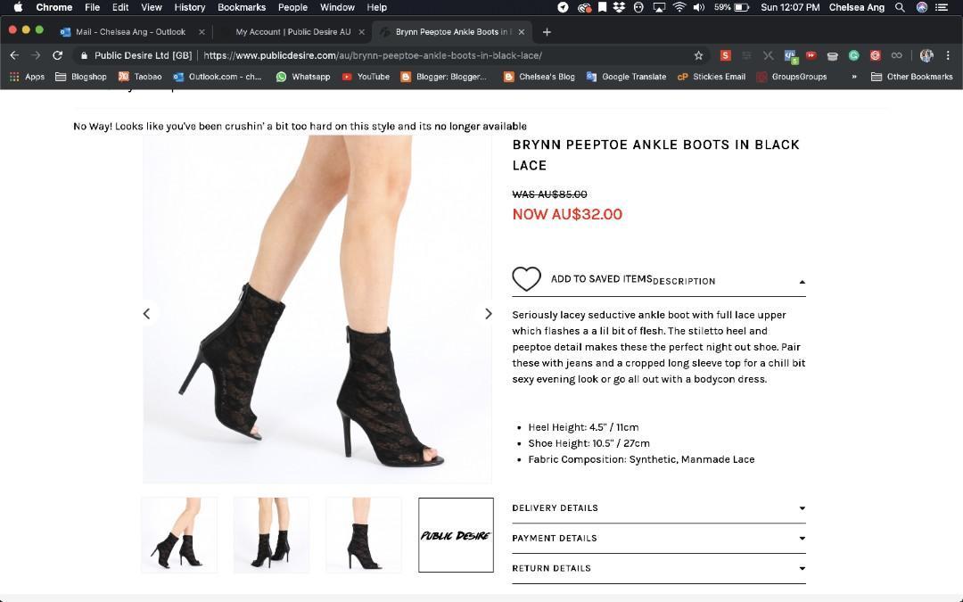 Brynn peeptoe ankle boots in black lace