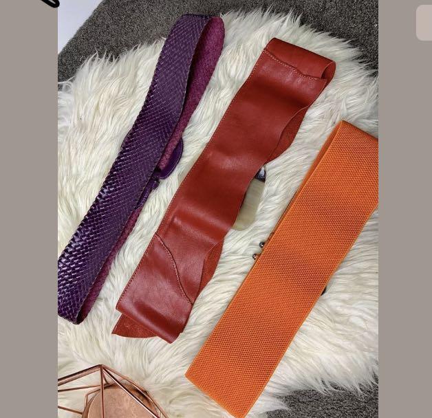Bundle Lot 3pcs multicolour red purple buckle belt waistline leather Mollini fun