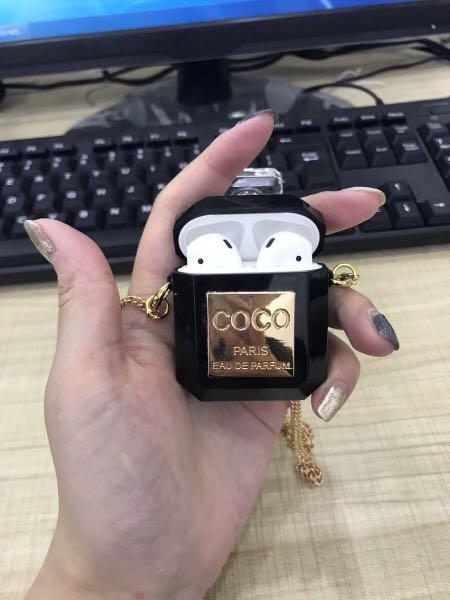 Coco Chanel Perfume Bottle Transparent Airpods Case [black/white] luxury