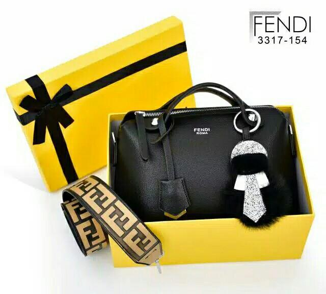 "D1 RESTOCK 3317-154 Fendi Boston By The Way ""Silver Hardware"" with FF Velvet STRAP MG"