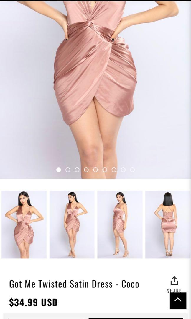 "Fashionnova ""got me twisted"" satin dress in coco size small"