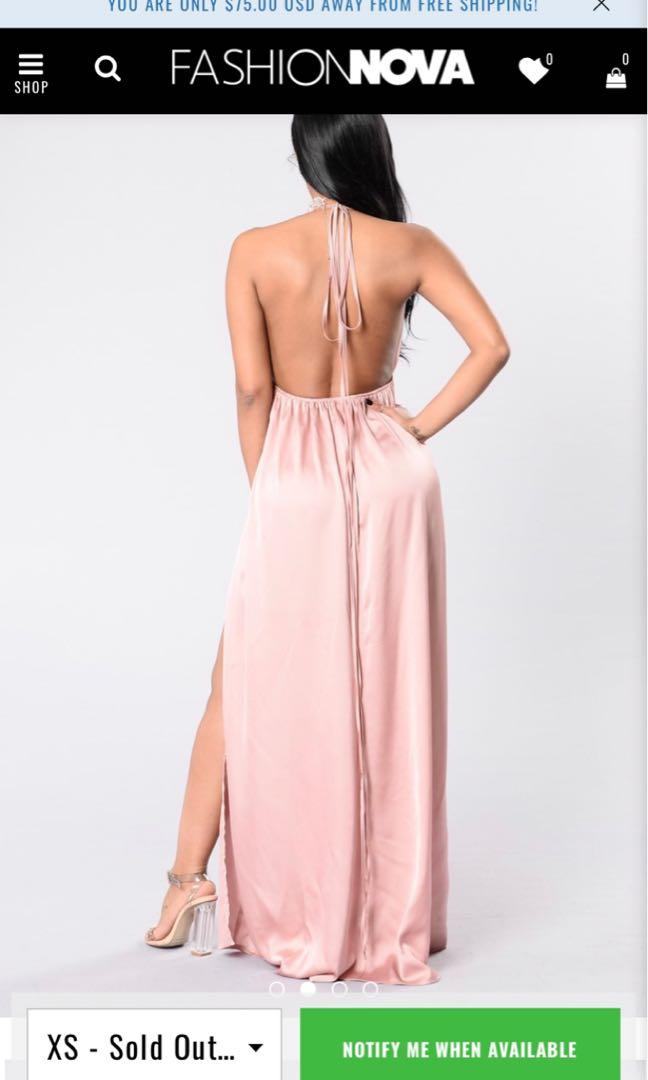 "Fashionnova ""feel so good"" mauve satin maxi dress in small"