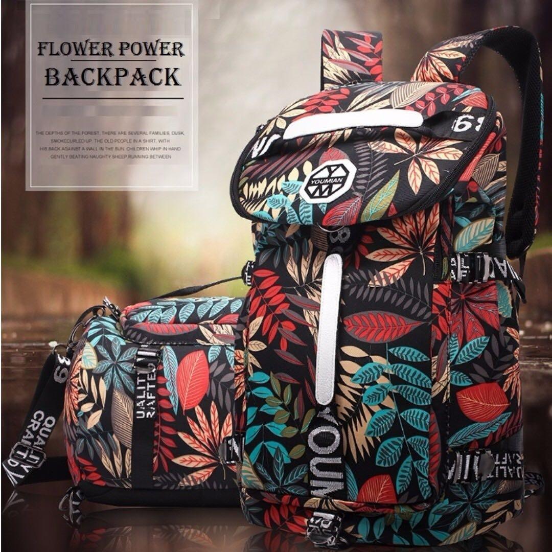 Flower Power Travel Backpack Haversack Bag - With shoulder sling! - Instock!