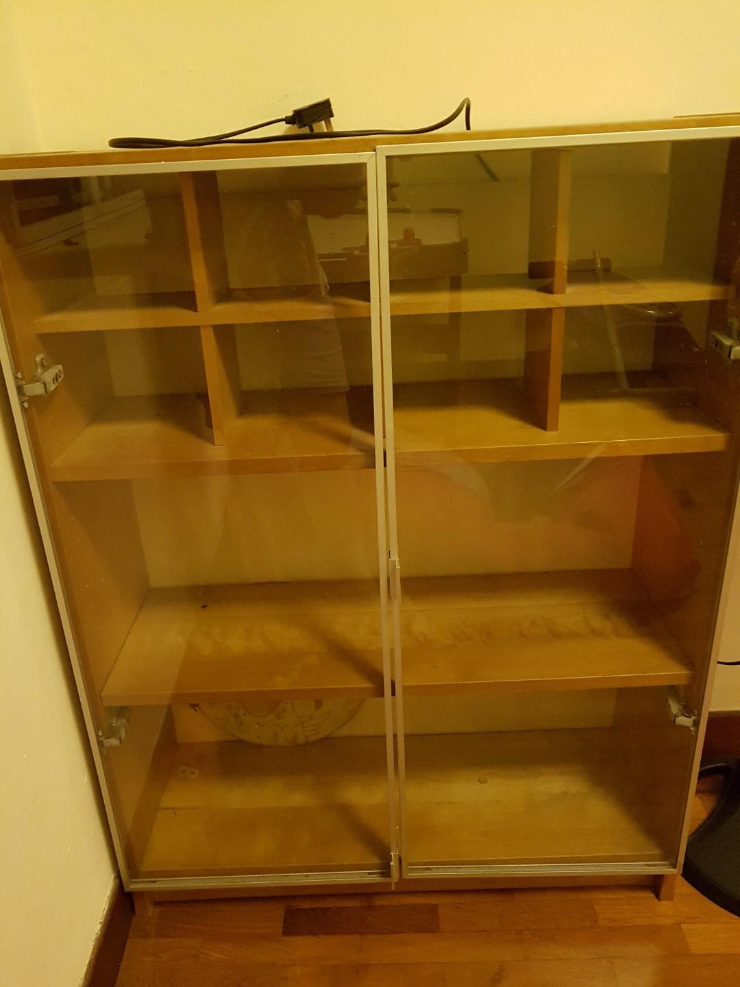 Ikea Billy Bookcase With Glass Doors Furniture Shelves
