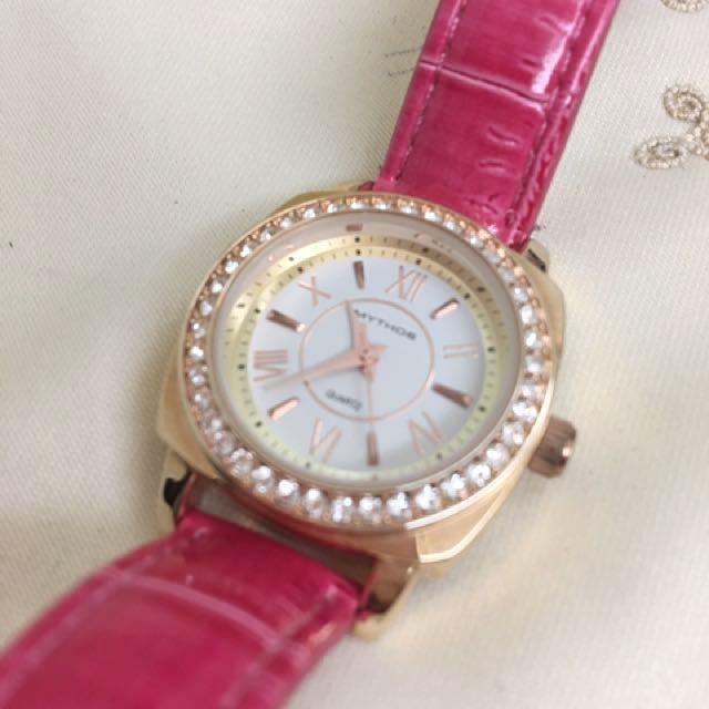 J-AXIS 日本製 櫻花🌸戀愛腕錶 玫瑰金水鑽  980元