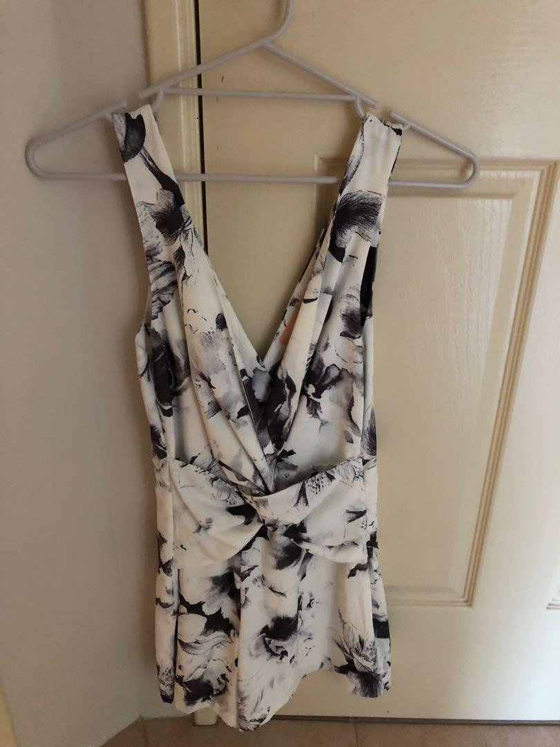 Live Floral Wrap Over Playsuit White/Grey Size AU 8