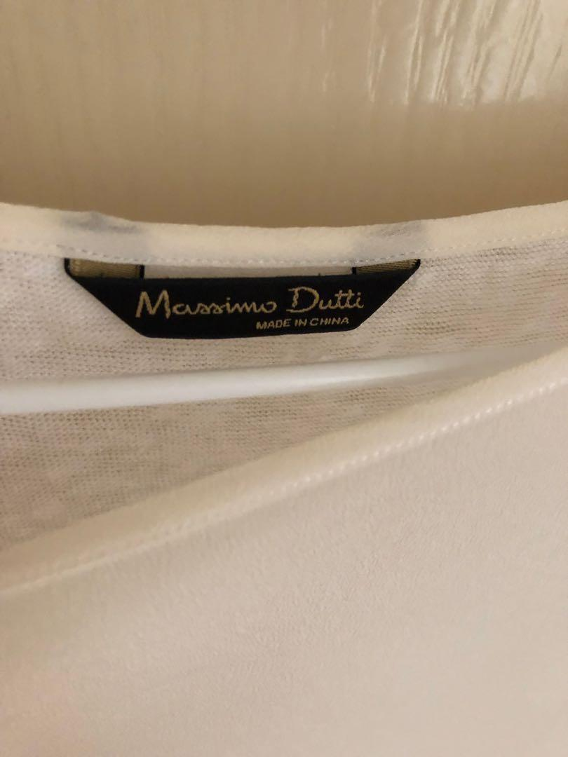 Massimo Dutti Silk Front Linen Back Top Size S (AU 6-8)