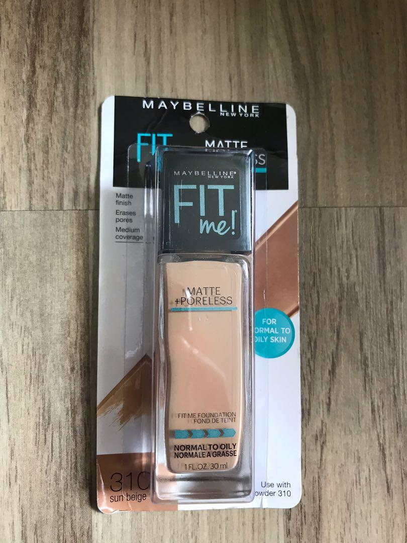 Maybelline Fit Me Matte Poreless Foundation 310 Sun Beige Health Beauty Makeup On Carousell