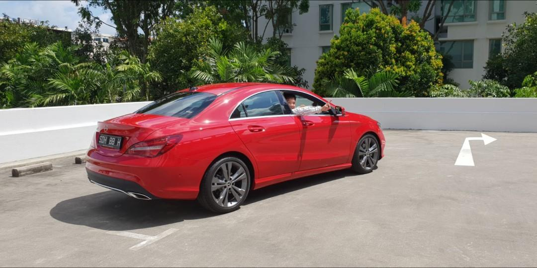 Mercedes CLA180 beautiful RED cum Driver with nice car number plate for rent. Not for self drive. Thanks