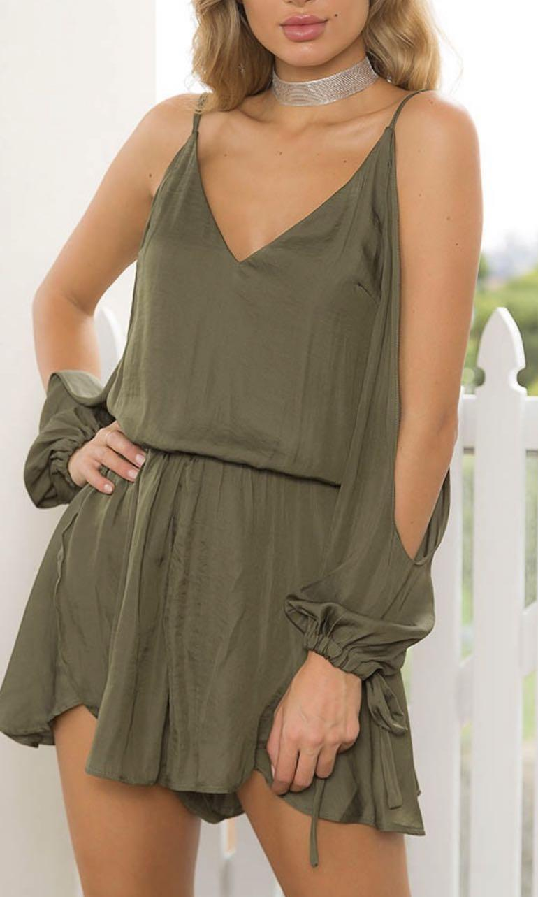 NEW TIGERMIST KHAKI OPEN SLEEVE SILKY PLAYSUIT XS 6
