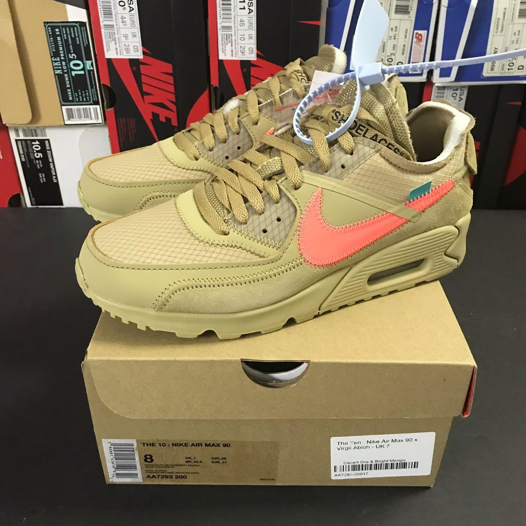 separation shoes a3470 2b7c1 Nike x Off White Air Max 90 Desert Ore US 8, Men's Fashion ...